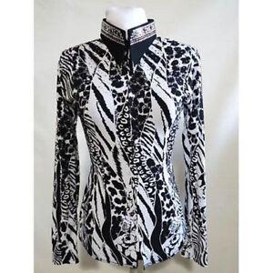 1220014 Lisa Nelle Wild Animal Ladies Horsemanship Shirt Black & White Small NEW