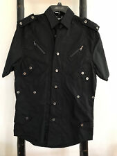 Men designer black shirt, Men short sleeves shirt by Square, size M in black