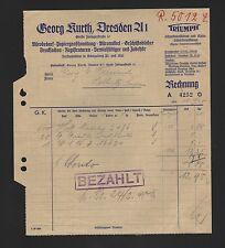 Dresde, Facture 1945, Georg αδ Triumph fournitures de bureau papier großhandlung