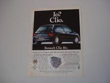 advertising Pubblicità 1991 RENAULT CLIO 16V