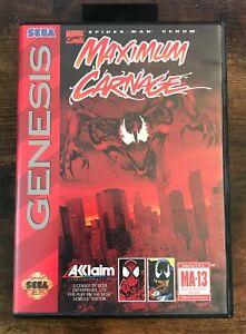 Maximum Carnage (Sega Genesis)  Complete CIB w/ Manual and Red Cartridge