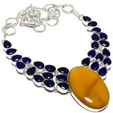 "Mookaite, Blue Sapphire Gemstone 925 Sterling Silver Necklace 18""AZ"
