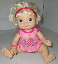 Baby Alive Wets and Wiggles 2010 Hasbro Blonde Hair Curls Blue Eyes Used Doll