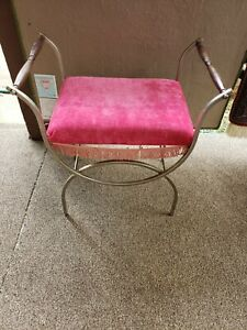 VINTAGE Mid Century Hollywood Regency gold Metal Vanity Upholstered Stool Bench