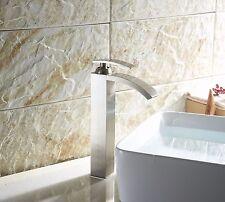 """12"""" Brushed Nickel Waterfall Bathroom Sink Faucet Vessel One Hole/Handle Tap"""