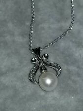 14k Pearl & Diamond Pendant 10k Chain White Gold art deco style vintage
