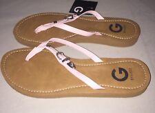 Womens G by Guess ?  Kross Buckle Flip Flops Sandals Pink  / Tan Size 9 New