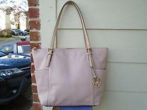 Michael Kors pink pebble leather large zip tote shoulder bag
