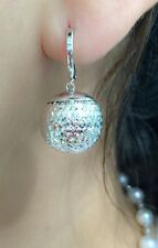 18k Solid White Gold Hoop Big Ball Dangle Earrings,Diamond Cut, 4.75 Grams