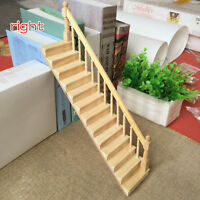 Dollhouse Miniature Wooden Straight Staircase Right Handrail Stair Step 1:12 Toy