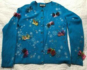 Berek Sample Rare Vintage Dk Blue Cardigan Sweater Womens Medium? New with Tags