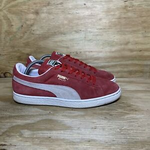 Puma Suede Men's Sneakers Size 10.5 Red White 352634-65 Casual Shoes