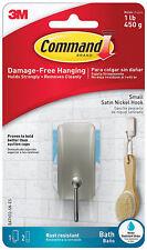 3M Command Small Satin Nickel Hook Bath Version Holds 1lbs 450g