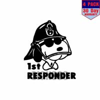 Snoopy Fire Fighter First Responder 4 pack 4x4 Inch Sticker Decal