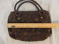 Adult Women's Billabong Brown Leather Cotton Shoulder Purse Bag 32832