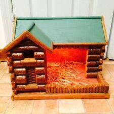 Vintage Handmade Wood large Nativity Creche Manger Stable Log Cabin Light Up Wow