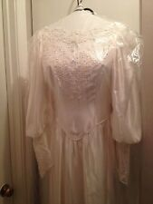 Vintage White Wedding Dress (Size 6 ) And Pearl Crown Veil