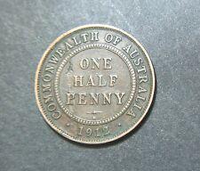 1912 Australian Half Penny, Error planchet peel large nice
