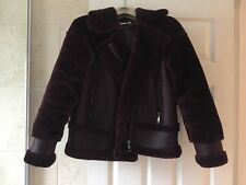 Whistles red burgundy fur sheepskin shearling aviator jacket biker coat XS zara
