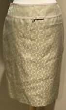 NWT Ann Taylor Brocade Pencil Skirt Lined Back Zip Ribbon Trim Green Pink Size 6