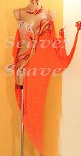 Women Ballroom Latin Rhythm Rumba Salsa Cha Dance Dress US 8 UK 10 Two Orange