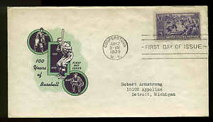 855 BASEBALL FDC COOPERSTOWN, NY PLANTY P50c.1 IOOR CACHET