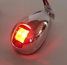 Boat Vertical Mount 12V LED Navigation Light Red Port Side Stainless Steel Bezel