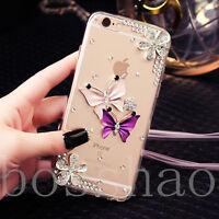Glitter Luxury Bling flowers purple butterlfy Diamond Soft Case Cover for xiaomi