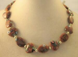 """Vintage 80's Long 20"""" Heart Flower Glass Bead Collar Necklace"""