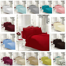 PLAIN FITTED BEDSHEETS 100% POLYCOTTON SINGLE DOUBLE KING LUXURY BED SHEET SOFT