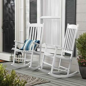 Outdoor Wood Porch Rocking Chair Weather Resistant Durable Timeless Look White