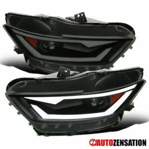 For 2015-20 Ford Mustang HID Xenon Black Smoke Projector Headlights+Dynamic LED
