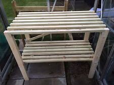 Greenhouse bench wooden hand made strong solid bespoke wood