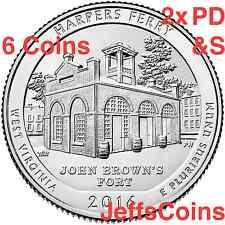 2016 2x PDS Harpers Ferry National Historical Park QUARTER SET 6 New P D S Mint