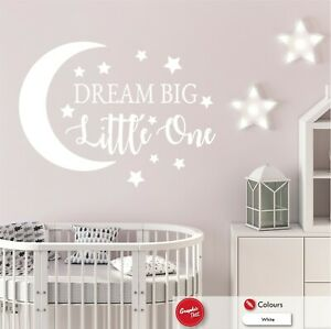 Nursery Wall Sticker Dream Big Little One Quote Boys Girls Bedroom Vinyl Decal