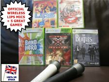Xbox 360 LIPS 195+ song MEGA 5 Game KARAOKE bundle +2 WIRELESS microphones MICS