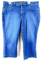 Riders by lee blue women's plus size mid rise spandex denim capri jeans 16M