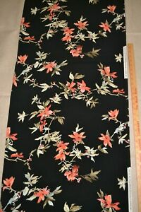 """Apparel fabric, floral print on black, 44"""" x 61"""", synthetic"""