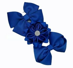 Royal Blue 3pcs set SCHOOL Hair Clips BOW HAIR CLIP KIDS HAIR BOWS Royal Blue