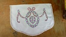 VINTAGE HAND EMBROIDERY PURPLE FLORAL CROCHET EDGE FABRIC DOILIE FREE SHIPPING
