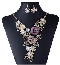 Vintage Colorful Flower Gold Clear Crystal Hollow Women Necklace Earrings Set k