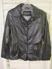 Womens WILSON Black LEATHER Coat JACKET sz XS Button Front EUC