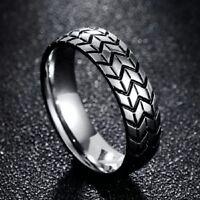 Tire Tread Silver Stainless Steel Ring Men Unisex Various Sizes