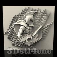 3D Model STL CNC Router Artcam Aspire Rome Spartans Panel Cut3D Vcarve