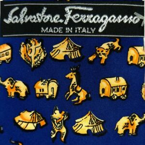 SALVATORE FERRAGAMO Italy Silk Tie Blue CIRCUS ANIMALS CLOWNS Elephants Tents