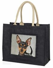 Miniature Pinscher 'Yours Forever' Large Black Shopping Bag Christma, AD-MP1yBLB