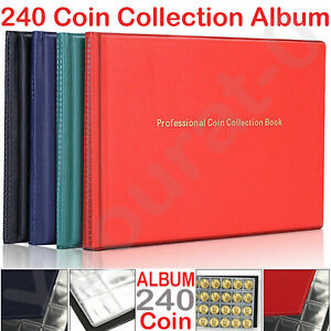 240 Coins Collection Storage Holders Penny Money Pocket Album Book Folder UK