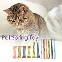 12pcs Plastic Flexible Colorful Cat Spring Toys Pet Interactive Playing Toy #JT1