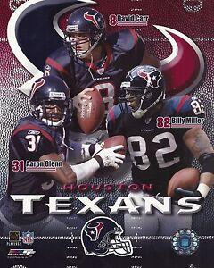 David Carr - Aaron Glenn - Billy Miller - Houston Texans picture 8x10 photo