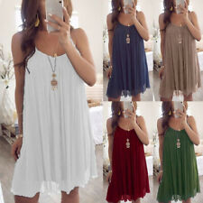 UK Womens Ladies Summer Casual Loose Vest Dress Beach Sleeveless Tops Cami Dress